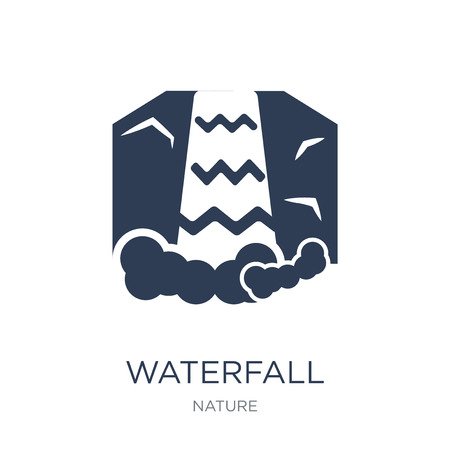 Ilustración de Waterfall icon. Trendy flat vector Waterfall icon on white background from nature collection, vector illustration can be use for web and mobile, eps10 - Imagen libre de derechos