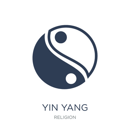 Ilustración de Yin Yang icon. Trendy flat vector Yin Yang icon on white background from Religion collection, vector illustration can be use for web and mobile, eps10 - Imagen libre de derechos