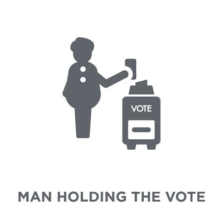 Illustration pour Man holding the vote paper on the box icon. Man holding the vote paper on the box design concept from Political collection. Simple element vector illustration on white background. - image libre de droit