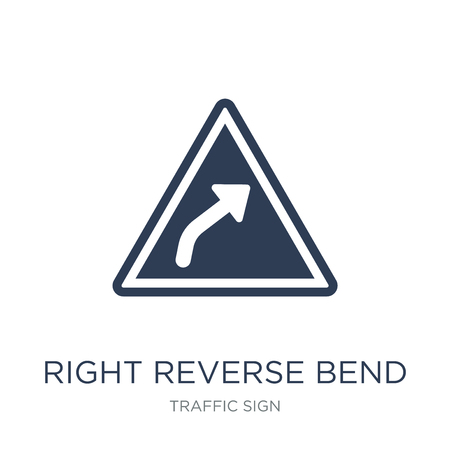 Ilustración de Right reverse bend sign icon. Trendy flat vector Right reverse bend sign icon on white background from traffic sign collection, vector illustration can be use for web and mobile, eps10 - Imagen libre de derechos