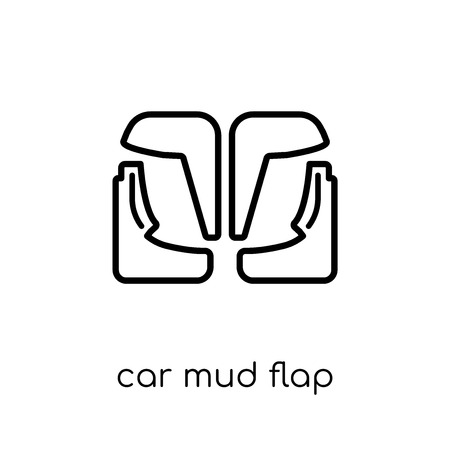 Ilustración de car mud flap icon. Trendy modern flat linear vector car mud flap icon on white background from thin line Car parts collection, outline vector illustration - Imagen libre de derechos