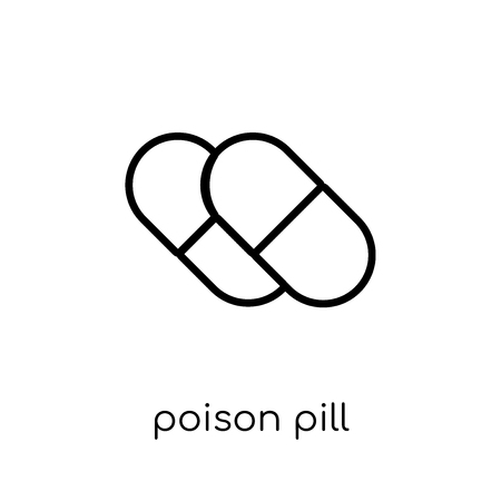Ilustración de Poison pill icon. Trendy modern flat linear vector Poison pill icon on white background from thin line business collection, editable outline stroke vector illustration - Imagen libre de derechos
