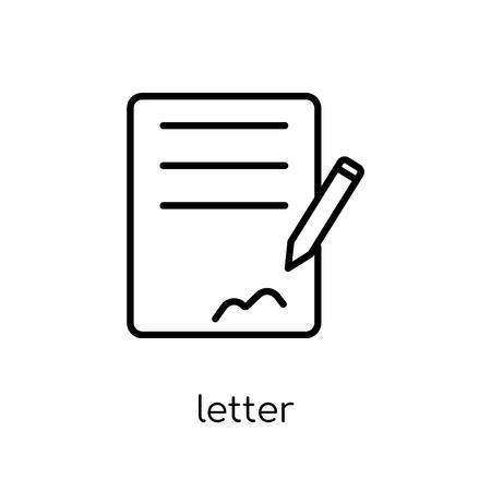 Ilustración de letter icon. Trendy modern flat linear vector letter icon on white background from thin line Communication collection, outline vector illustration - Imagen libre de derechos
