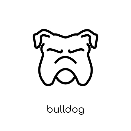 Illustration for Bulldog icon. Trendy modern flat linear vector Bulldog icon on white background from thin line dogs collection, editable outline stroke vector illustration - Royalty Free Image
