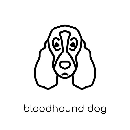 Ilustración de Bloodhound dog icon. Trendy modern flat linear vector Bloodhound dog icon on white background from thin line dogs collection, editable outline stroke vector illustration - Imagen libre de derechos