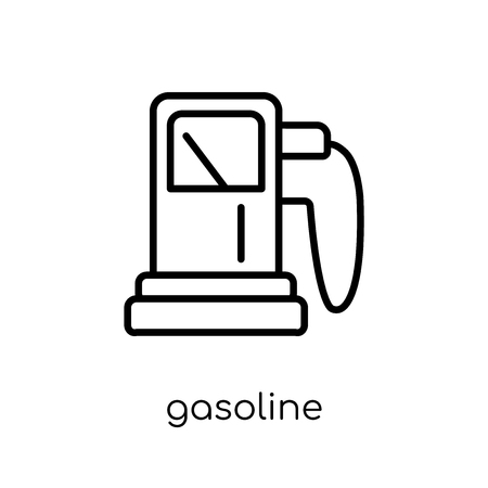Ilustración de gasoline icon. Trendy modern flat linear vector gasoline icon on white background from thin line Ecology collection, outline vector illustration - Imagen libre de derechos