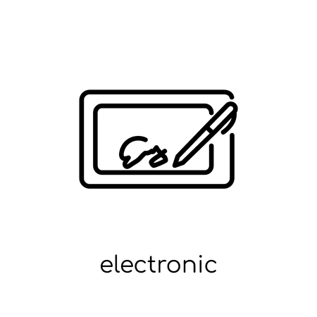 Ilustración de electronic signature icon. Trendy modern flat linear vector electronic signature icon on white background from thin line Electronic devices collection, editable outline stroke vector illustration - Imagen libre de derechos