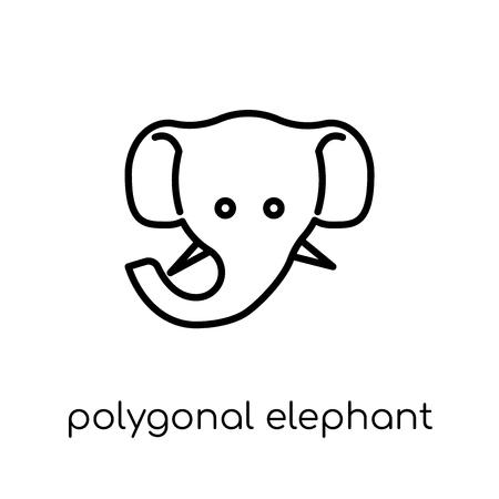 Ilustración de polygonal elephant icon. Trendy modern flat linear vector polygonal elephant icon on white background from thin line Geometry collection, outline vector illustration - Imagen libre de derechos