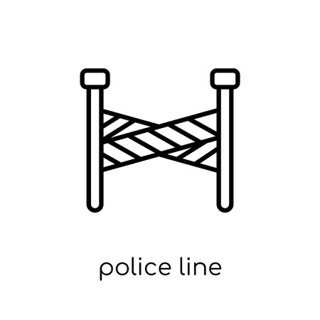 Ilustración de Police line icon. Trendy modern flat linear vector Police line icon on white background from thin line law and justice collection, editable outline stroke vector illustration - Imagen libre de derechos
