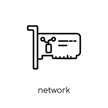Ilustración de Network Interface Card icon. Trendy modern flat linear vector Network Interface Card icon on white background from thin line hardware collection, editable outline stroke vector illustration - Imagen libre de derechos