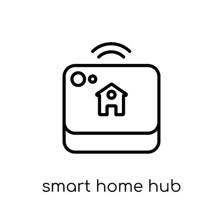 Ilustración de smart home hub icon. Trendy modern flat linear vector smart home hub icon on white background from thin line General collection, editable outline stroke vector illustration - Imagen libre de derechos