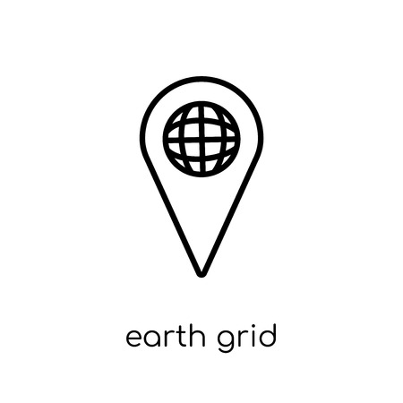 Illustration pour Earth grid icon. Trendy modern flat linear vector Earth grid icon on white background from thin line Maps and Locations collection, editable outline stroke vector illustration - image libre de droit