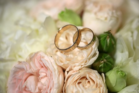 Photo for Closeup view of beautiful fresh soft wedding decorative bouquet of pink rose white peony and green flowers with two golden rings, horizontal picture - Royalty Free Image