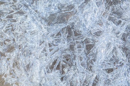 Foto de Background with ice frozen texture. Texture of ice surface. Frost crystal border on ice, Christmas backdrop. Christmas, frozen window texture. Winter ice background, new year. - Imagen libre de derechos
