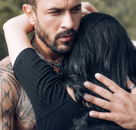 Photo pour Sensual couple kiss. I Love You. Couple In Love. Intimate relationship and sensual relations. Dominant man. Closeup mouths kissing. Passion and sensual touch - image libre de droit