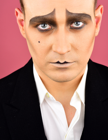 Photo for Having talent and charisma. Theatre actor miming. Mime with face paint. Mime artist. Man with mime makeup. Stage actor playing. Drama or tragedian performer. Theatrical performance art and pantomime. - Royalty Free Image