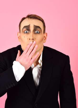 Photo for Keeping secret. Mime artist cover mouth with hand. Mime with face paint. Man actor with mime makeup. Theatre actor miming. Theatrical performance art and pantomime. Comedian or tragedian performer. - Royalty Free Image