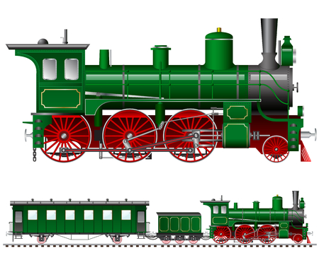 Illustration pour green steam locomotive with tender and carriage - image libre de droit