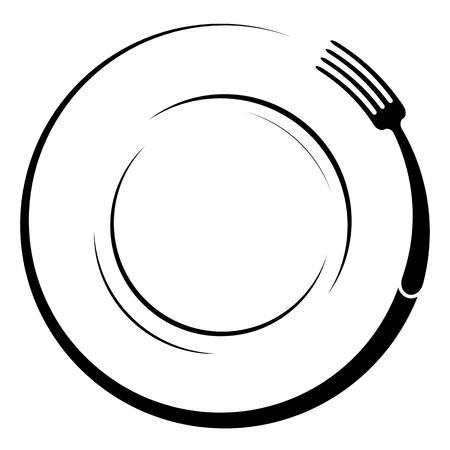 Foto für Abstract logo of a cafe or restaurant. A fork on a plate. A simple outline. - Lizenzfreies Bild