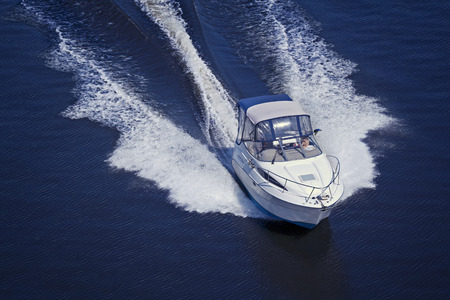 Photo for Motor boat sailing at high speed - Royalty Free Image