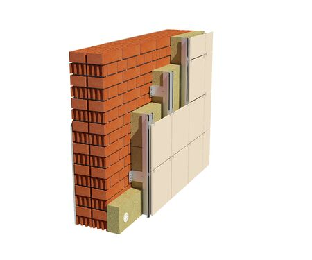 Foto de 3d render image of insulated house wall with ventilated facade. Detailed concept of insulation, showing all layers. - Imagen libre de derechos