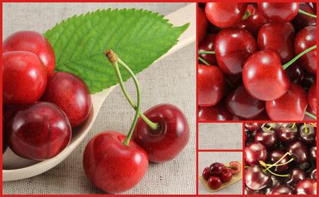 Photo pour Collage of red cherry-rectangle. Golden Section. - image libre de droit