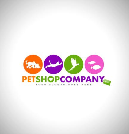 Ilustración de Pet Shop Logo Design Concept. Animals icons. Colorful Pet-Shop Icon Design. - Imagen libre de derechos