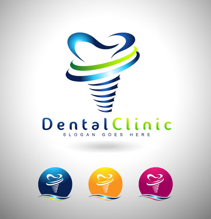 Illustration pour Dental Implant Design. Dentist Logo. Dental Implants Clinic Creative Company Vector Logo. - image libre de droit