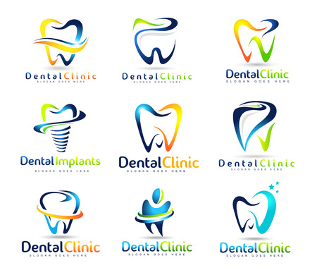 Illustration pour Dental Logo Design. Dentist Logo. Dental Clinic Creative Company Vector Logo Set - image libre de droit