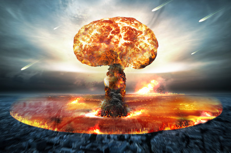 Photo pour Danger of nuclear war illustration with multiple explosions - image libre de droit