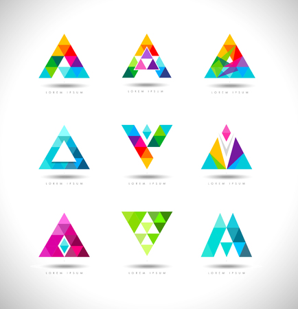 Illustration pour Geometric Triangles Logo Design. Vector logo with triangle creative concept. - image libre de droit