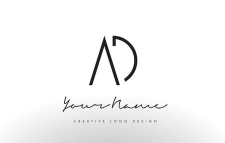 Illustration pour AD Letters Logo Design Slim. Simple and Creative Black Letter Concept Illustration. - image libre de droit