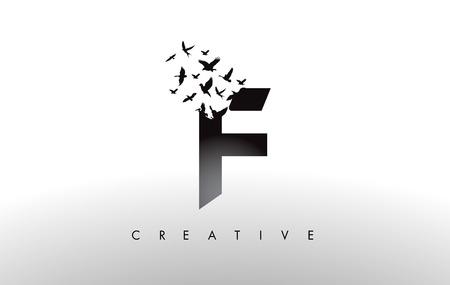 Ilustración de F Logo Letter with Flying Flock of Birds Disintegrating from the Letter. Bird Fly Letter Icon. - Imagen libre de derechos