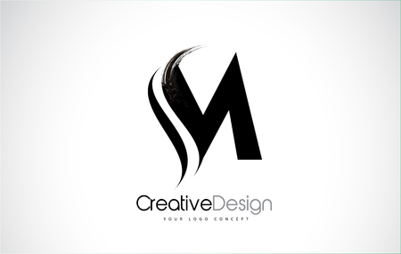 Illustration for M letter design brush paint stroke. Letter logo with black paintbrush stroke. - Royalty Free Image