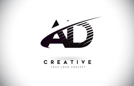 Illustration pour AD A D Letter Logo Design with Swoosh and Black Lines. Modern Creative zebra lines Letters Vector Logo - image libre de droit