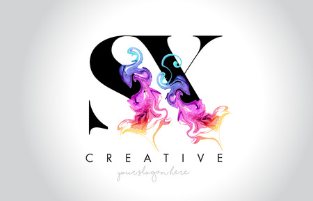 Ilustración de SX Vibrant Creative Leter Logo Design with Colorful Smoke Ink Flowing Vector Illustration. - Imagen libre de derechos