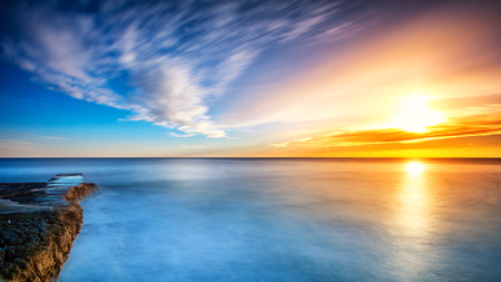 Photo for Long exposure sunset on the beach in Mali Losinj, Croatia - Royalty Free Image