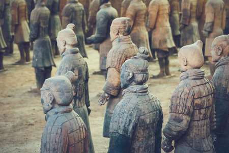 Photo for Terracotta Army of soldier sculptures group  in Xian, China - Royalty Free Image