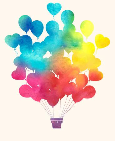 Illustration pour Watercolor vintage hot air balloon - image libre de droit