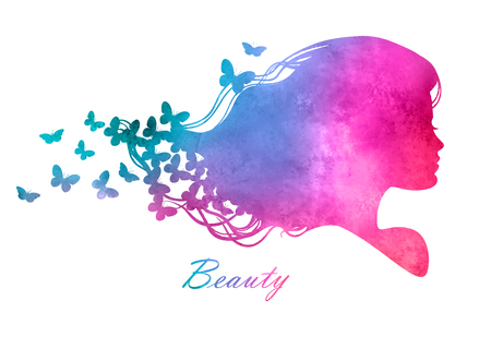 Illustration pour Silhouette head with watercolor hair.Vector illustration of woman beauty salon - image libre de droit
