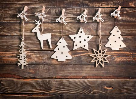 Foto de christmas decoration on the wooden table, christmas background - Imagen libre de derechos