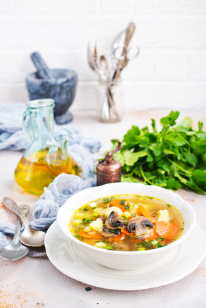 Photo for soup with vegetables and mushrooms and fresh greens - Royalty Free Image