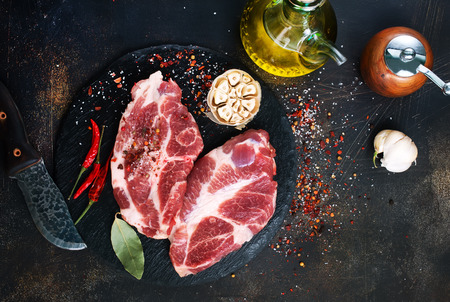 Photo pour raw meat oil and aroma spice on a table - image libre de droit
