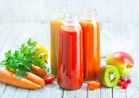 Photo for juice from fruits and vegetables in bottle - Royalty Free Image