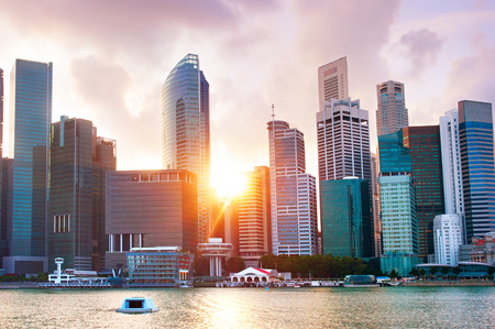 Photo for Colorful Singapore Downtown Core at sunset - Royalty Free Image