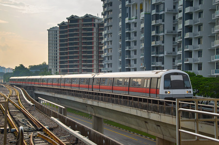 Photo for Modern subway train on a railroad in Sinapore - Royalty Free Image