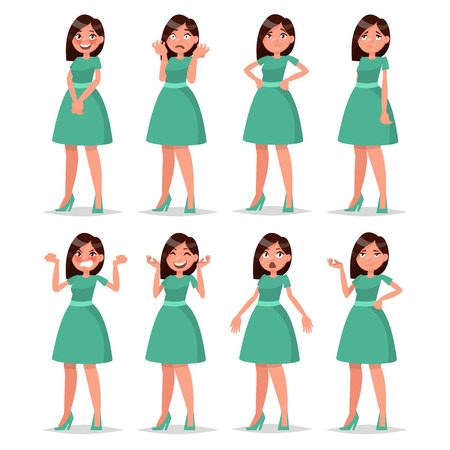 Set girl dressed in a dress with a variety of emotions and poses. Vector illustration