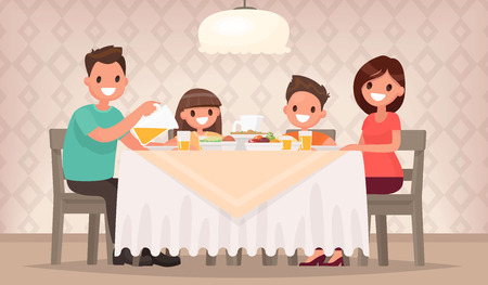 Ilustración de Family meal. Father mother, son and daughter together sit at the table and have lunch. Vector illustration in a flat style - Imagen libre de derechos