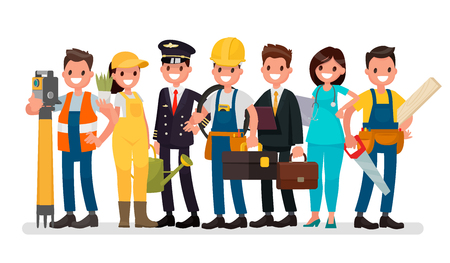 Illustration pour Labor Day. A group of people of different professions on a white background. Vector illustration in a flat style - image libre de droit