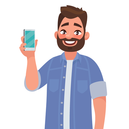 Ilustración de Man is showing the phone. People and gadgets. Vector illustration in cartoon style - Imagen libre de derechos
